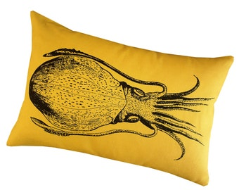Cuttlefish squid silk screened cotton canvas throw pillow 12x18 inch black on yellow