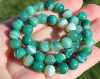 10 PEARLS GREEN ONYX AGATE STRIPED 8 MM.