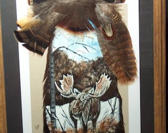 Painted Wild Turkey Tail feather Moose wildlife art