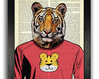 Cool Tiger Art Print Wall Decor Poster Artwork Kids Bedroom Dictionary Prints Illustration