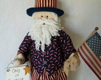 Art Doll ~ Uncle Sam ~ Standing Patriotic Doll ~ July 4th, Veterans Day, Memorial Day, Labor Day, Flag Day ~ Doll 28 Inches Tall ~