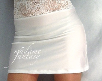 High waisted white shiny spandex mini skirt with lace top