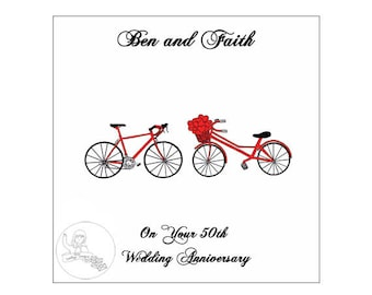 Handmade Personalised 50th Wedding Anniversary Card Road Bikes Bicycle Hearts Gold