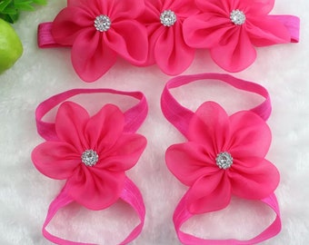 Baby Barefoot Sandals with Headband (free shipping)