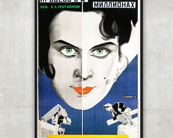 Wall Art Print, Vintage Constructivism poster - movie poster - The Three Million Case - by Stenberg brothers - Fine Art Print,P089