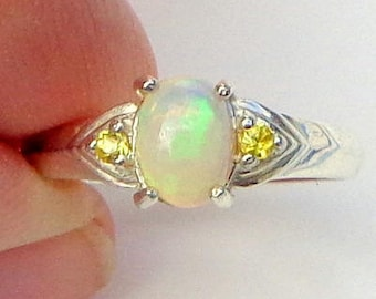 sz 7, Welo Opal Ring,Faceted Yellow Sapphire Accents,Natural Gemstone, Sterling Silver, Fine Jewelry, Ethiopian Opal, Semi-Transparent Opals
