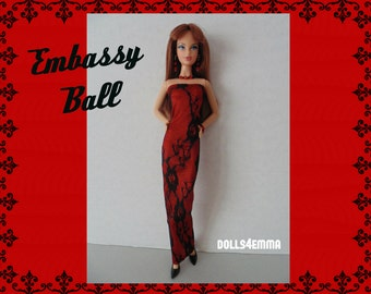 Model Muse Barbie Doll Clothes - Sexy Black Lace Red Satin DRESS and matching JEWELRY Set - Custom Fashion - by dolls4emma