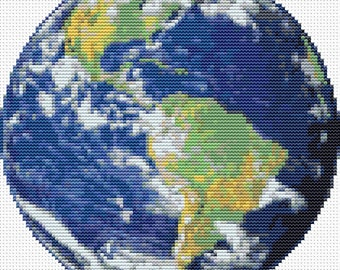 Earth Cross Stitch Pattern PDF, CIRCULAR Cross Stitch Chart, Art Cross Stitch, Space Cross Stitch, Embroidery Chart