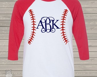 Baseball monogram with red bling glitter three quarter sleeve ADULT raglan baseball shirt