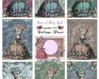 Digital Collage Sheet, Victorian Lady's, cards, tags, Scrapbooking, Vintage Printable, Digital Paper, Marie Antoinette, mixed media, #52