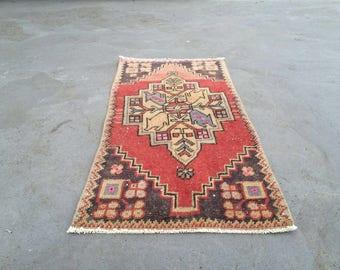 "1'4"" X 2'7""/ 44 X 83 cm Free shipping turkish vintage rug anatolian rug pastel rug old rug oushak rug small rug"