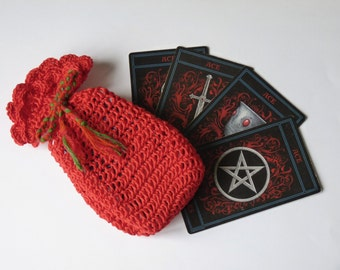 Handmade made to order crocheted Tarot cards or runes or gift bag case