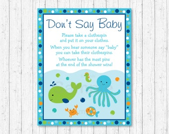 Blue Under The Sea Don't Say Baby Game / Under The Sea Baby Shower / Sea Animals / Clothespin INSTANT DOWNLOAD A229