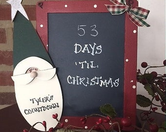 Countdown to Christmas Chalkboard for Kids, personalized