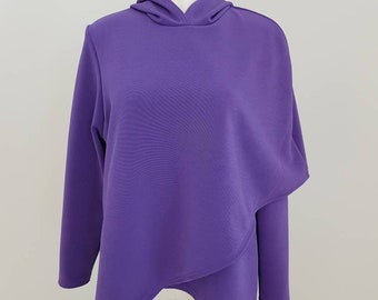 Woman's Capelet crossover asymmetric hoodie purple  sweater size large