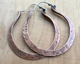Large Hoop Earrings - Extra Large Hoops - Copper Hoops - Boho Hoop Earrings - Artisan Hoop Earrings - Hammered Hoop Earrings - Gift For Her