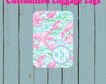 Lilly Pulitzer Inspired Monogram Luggage Tag - Luggage Tag Monogrammed
