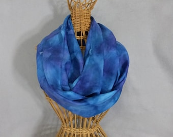 "Silk Infinity Scarf ""True Blue"", Hand Painted Silk Scarf, Circle Scarf"