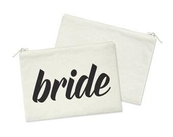 Bride // Heavy Cotton Canvas Cosmetic Bag // Makeup Bag // Canvas Bag with Zipper