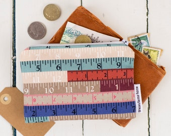 Tape Measures Purse, Make up pouch, fun zipped bag, coin and money purse in blue, pink red and white colours