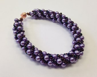 Spiral Beaded Bracelet designed with Lavender Czech Glass Pearls and Miyuki Purple Iris Seed Beads
