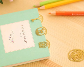 Metal Kawaii Gold Oval Bookmarks