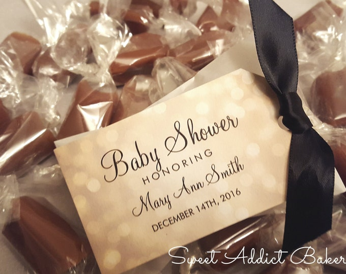 Elegant Baby Shower Favors - 2 Caramels each - Gold and Black - Personalized and custom made for you and your guests to enjoy