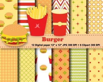 Burger Digital Paper, Burger Clipart, Fast Food, Hamburger, Potato, Cheese, Tomato, Food,  Background, Pattern, Clipart, Commercial Use.