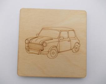 Mini Coaster - Etched wood