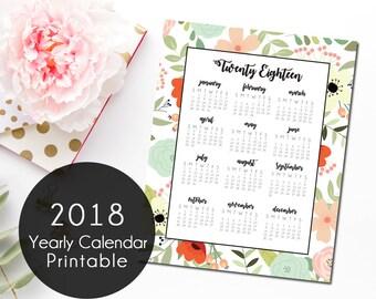 Floral 2018 Yearly Calendar, Printable Calendar, Instant Download 2018 Calendar