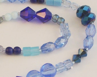 25 Pairs of Assorted Blue Beads // Blue Accent Beads // Blue Destash Bead Mix