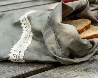 Linen Bread Bag / Natural Linen Bag whit lace