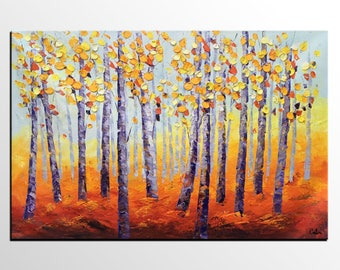 Oil Painting, Autumn Tree Art, Abstract Painting, Large Art, Dining Room Wall Art, Canvas Art, Modern Art, Abstract Wall Art, Landscape Art