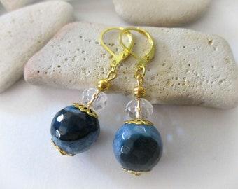 Druzy Earrings | Blue Agate Earrings | Blue Gemstone Earrings | Gold Lever Back Earrings | Blue Earrings | Blue Stone Earrings | Agate Stone