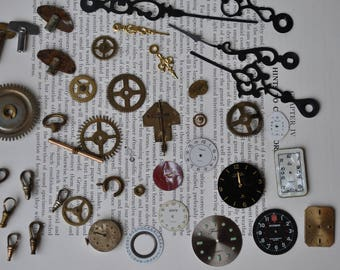 Watch Parts Lot for Projects/Crafts, Antique Vintage Watch Parts, Destash Lot, Steampunk Supplies, Free Shipping