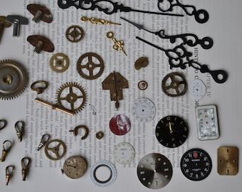 Watch Parts Lot for Projects/Crafts, Antique Vintage Watch Parts, Destash Lot, Steampunk Supplies