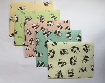 Panda envelopes, panda stationery, snail mail, happy mail, handmade small envelopes, set of 5, cute pattern