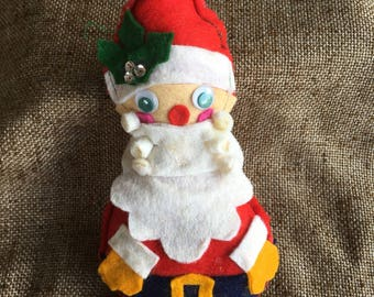 Vintage Folk Art Stuffed Felt Full Body Santa Handsewn Handcrafted Appliqued Sequined Ornament