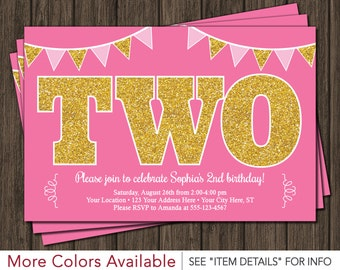 Second Birthday Invitation - Pink and Gold 2nd Birthday Invitations