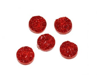 20 cabochons 12mm red Druzy