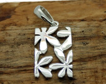 Sterling Silver Rectangle Flower Pendant  (NA16)