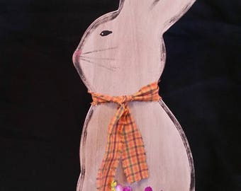 Wooden Hand Painted Bunny With Chicken Wire Egg