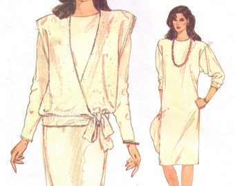 80s Womens Pullover Straight Dress and Wrap Top Very Easy Very Vogue Sewing Pattern 9036 Size 8 10 12 Bust 31 1/2 to 34 UnCut