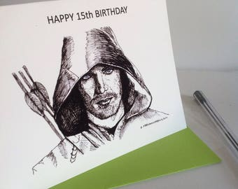 Happy birthday Arrow card. Arrow ink drawing card, Age birthday card, Arrow Fan Art card