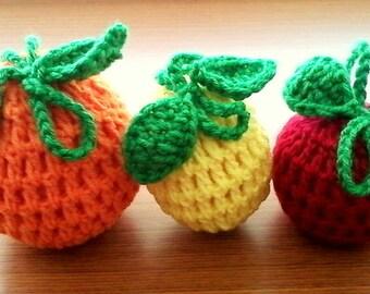 Set of 3 Crochet Fruit Cozies