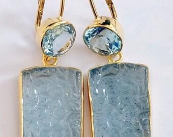Stunning Aquamarine & Blue Topaz Earring