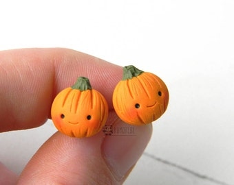 Pumpkin kawaii Stud earrings, zucche orecchini