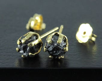 1.8ct Rough Diamond Stud Earrings - 14K Gold Filled 6mm Posts - Raw Conflict Free Black Diamonds - Large Studs