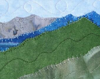 Mountain Landscape Art - Quilted Postcard - Fiber Art  - Wall Art-  Home Decor - Small Quilt Art - Fabric Postcard - Travel Keepsake