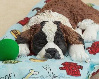 Saint Bernard Dog Figurine, Polymer Clay Dog Sculpture, St Bernard Dog Lovers Gift, Dog Art, Puppy Art